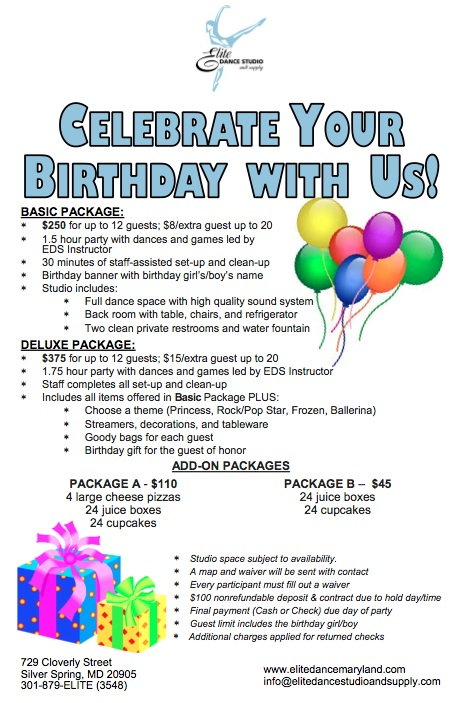 Birthday Parties Elite Dance Studio Supply